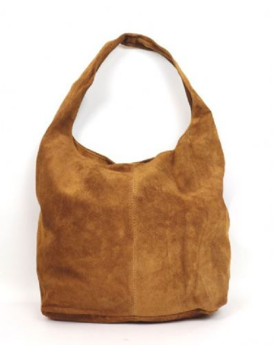 Suede Hobo Shoulder Bag - Tan